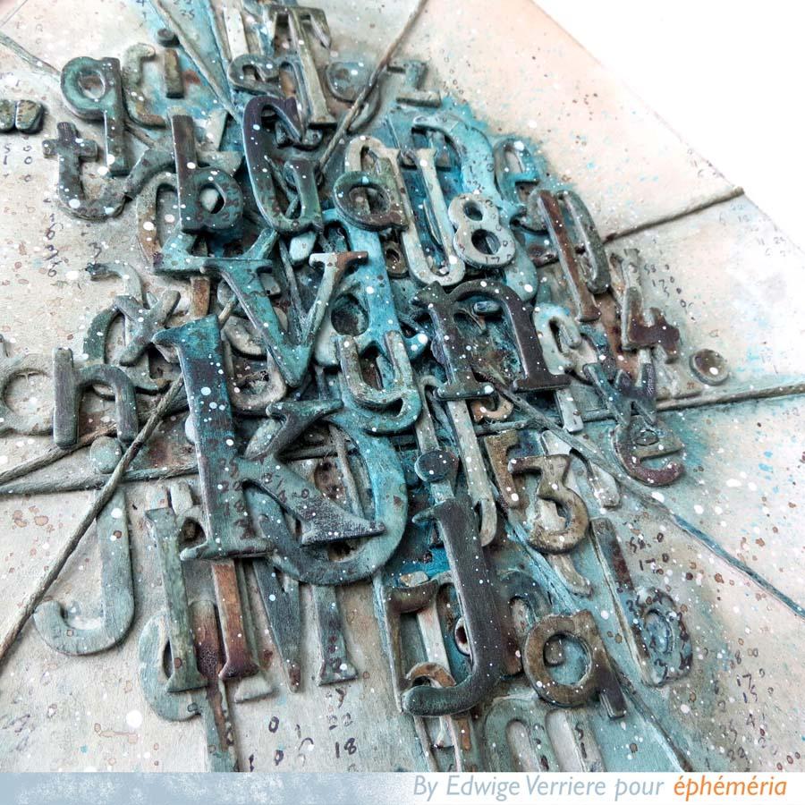 Cadres hexagonaux mix-media par Edwige pour éphéméria détail