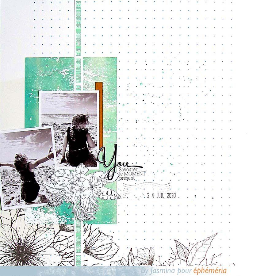 page de scrapbooking by Jasmina, blanche et vert d'eau