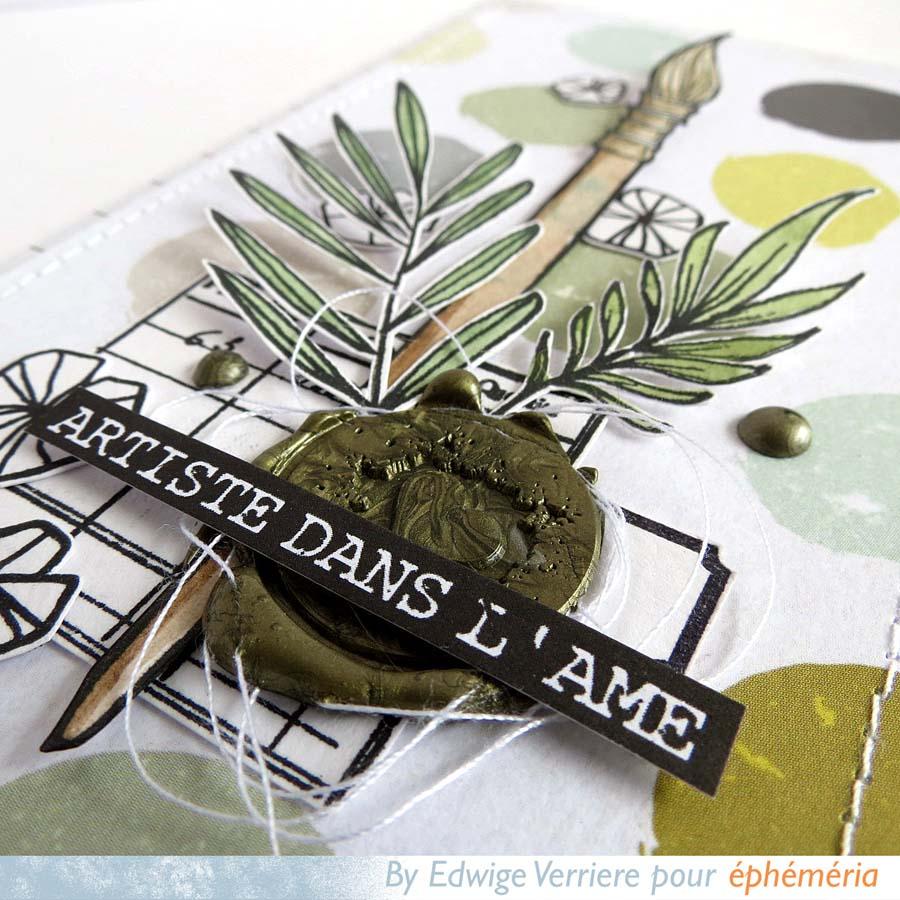 carte fabriquée par Edwige pour éphéméria, dans les tons verts avec des feuilles