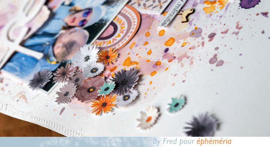 page de scrpbooking inspiration 70s par Fred pour éphéméria