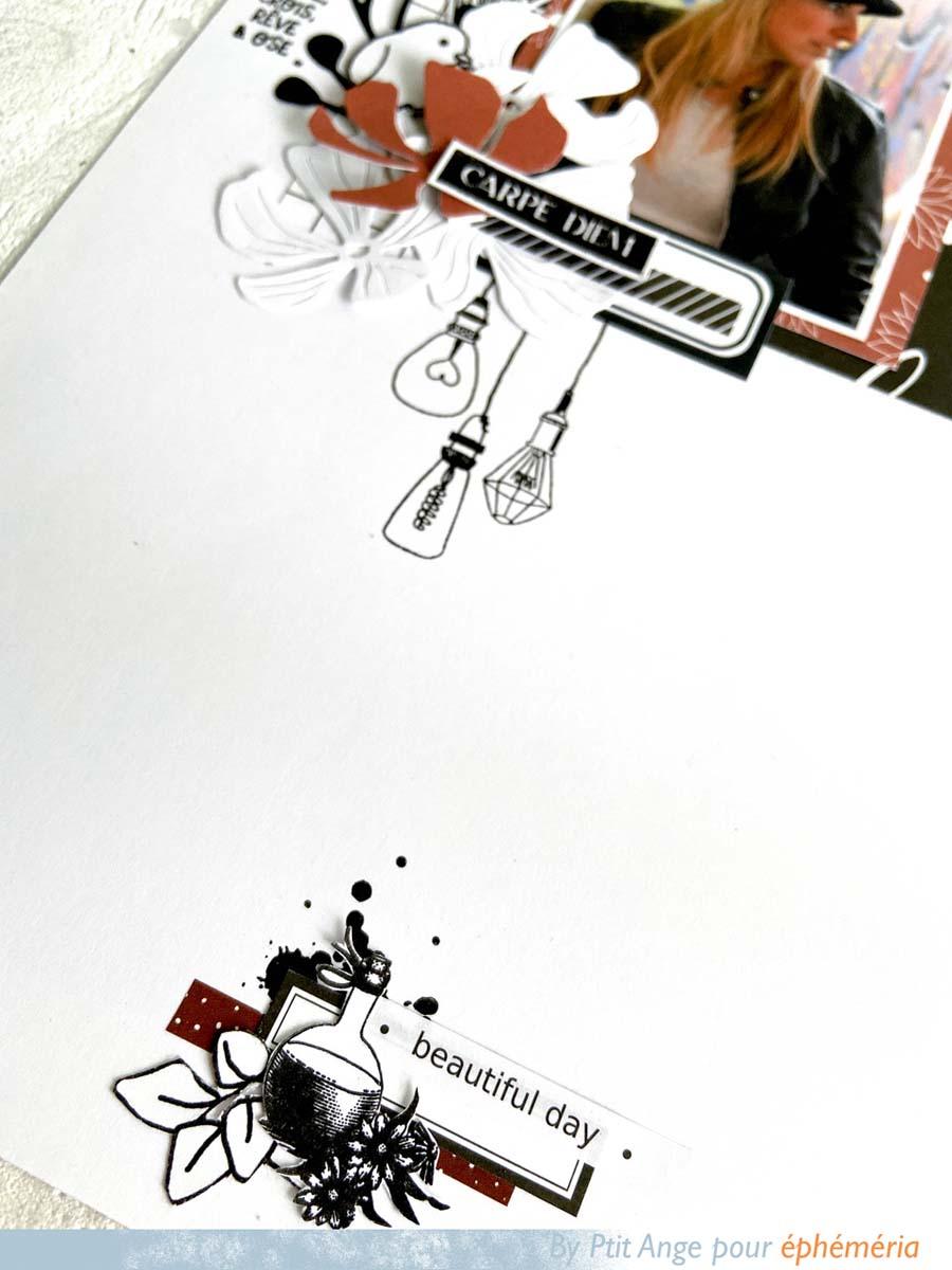 Page de scrapbooking intitulée Carpe Diem par Ptit ANge pour éphéméria