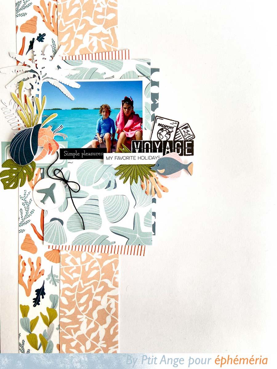 Page de scrapbooking avec une photo d'enfants sur la plage