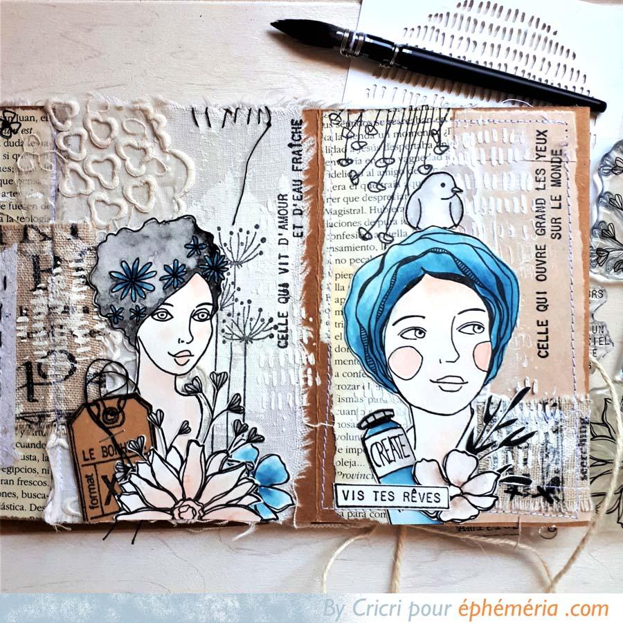 Mini Art Journal avec des portraits de femmes par Cricri pour éphéméria