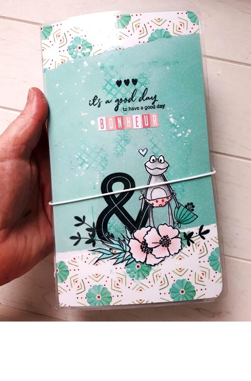 carnet de rangement des étiquettes bleu turquoise avec une grenouille