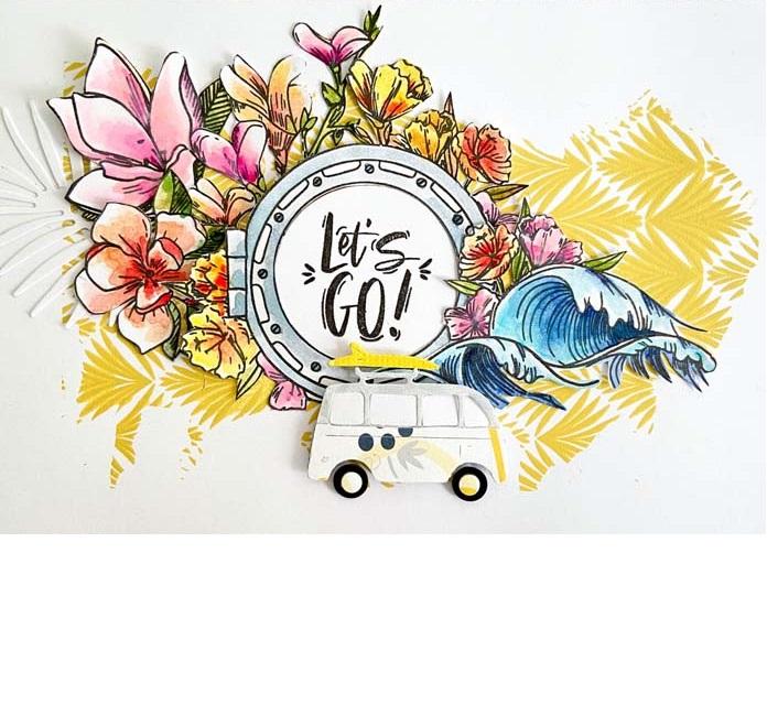 carte en scrapbooking avec des fleurs par Ptit Ange pour éphéméria